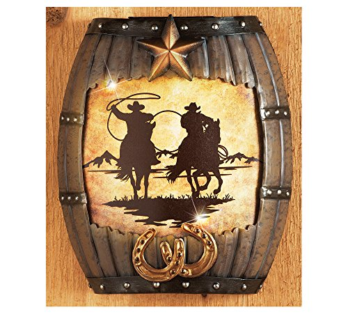 Lighted western silhouette cowboy wall art for Cowboy wall mural